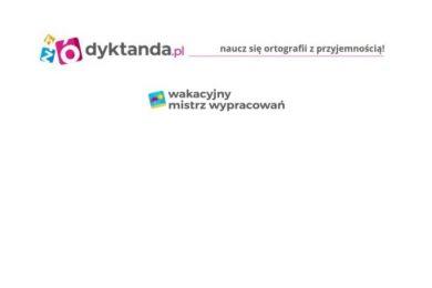 """Grafika z napisami na białym tle: """"dyktanda.pl"""", """"naucz się ortografii z przyjemnością !"""", """"wakacyjny mistrz wypracowań""""."""