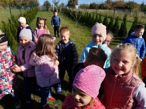 Dzieci z odziału przedszkolnego stoją na porośniętej trawą działce. Po obu stronach zdjęcia widać siatkę ogradzającą działki oraz niewielkie choinki posadzone wzdłuż niej.