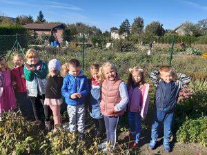 Dzieci z oddziału przedszkolnego pozują do zdjęcia stojąc między ogrodowymi grządkami.