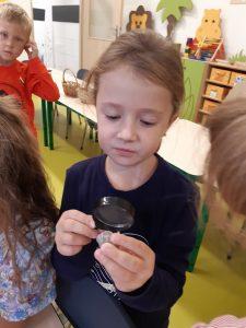 Dziewczynka z oddziału przedszkolnego trzyma w dłoni kamyk, który ogląda przez lupę.