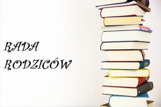 """Grafika przedstawia stos książek w twardych, kolorowych okładkach a obok niego napis """"RADA RODZICÓW""""."""