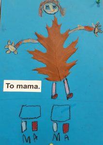 """Zdjęcie pracy wykonanej przez ucznia oddziału przedszkolnego. Na niebieskim tle naklejony brązowy liść z dorysowaną głową z brązowymi włosami oraz rękoma i nogami. Po lewej stronie na wysokości nóg wklejony napis: """"To mama."""". U dołu narysowane dwa prostokąty, pod nimi cztery kwadraty pokolorowane na przemian niebieską i czerwoną kredką a pod nimi odręczny napis mama."""
