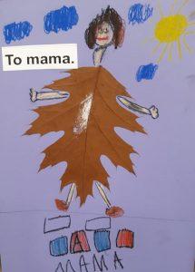 """Zdjęcie pracy wykonanej przez ucznia oddziału przedszkolnego. Na jasnofioletowym tle naklejony brązowy liść z dorysowaną głową z brązowymi włosami oraz rękoma i nogami. W lewym górnym rogu wklejony napis: """"To mama."""". Obok napisu narysowane niebieskie chmurki a w lewym rogu żółte słoneczko. U dołu narysowane dwa prostokąty, pod nimi cztery kwadraty pokolorowane na przemian niebieską i czerwoną kredką a pod nimi odręczny napis mama."""