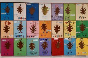 """Zdjęcie tablcy z przyczepionymi pracami uczniów oddziału przedszkolnego zatytułowanymi """"Jesienna mama.""""."""