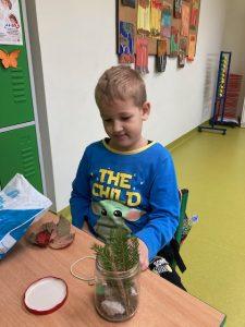 Uczeń klasy pierwszej podczas wykonywania swojej pracy - na stoliku przed nim stoi częściowo wypełniony szklany słoik z wystającymi ze środka gałązkami.